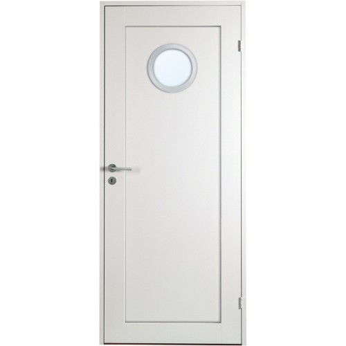 Öland - 1-spegel - Runt glas Aluminiumring - Massiv - Innerdörr - Klicka på bilden för att stänga